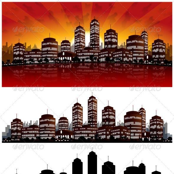 Sunset City Vector Background - Skyline