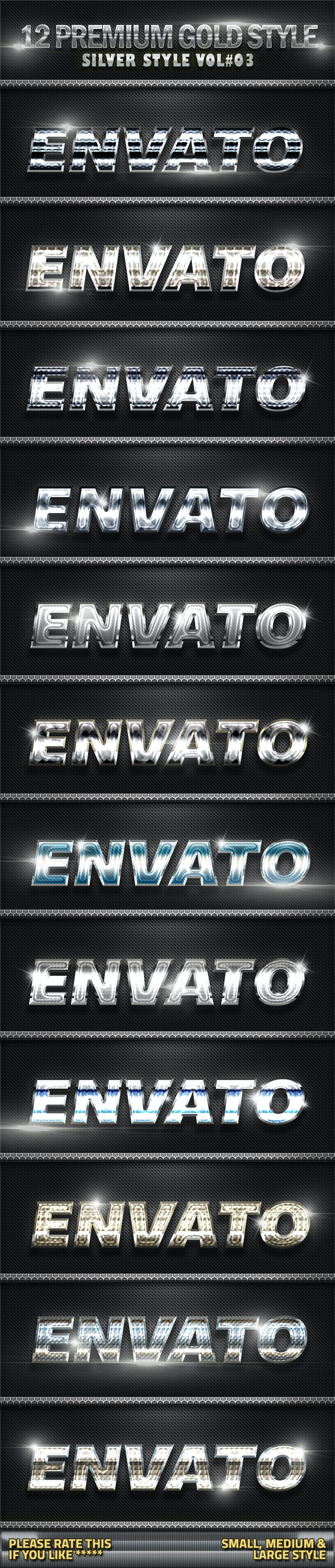 12 Metal Silver Photoshop Style V04 - Text Effects Styles