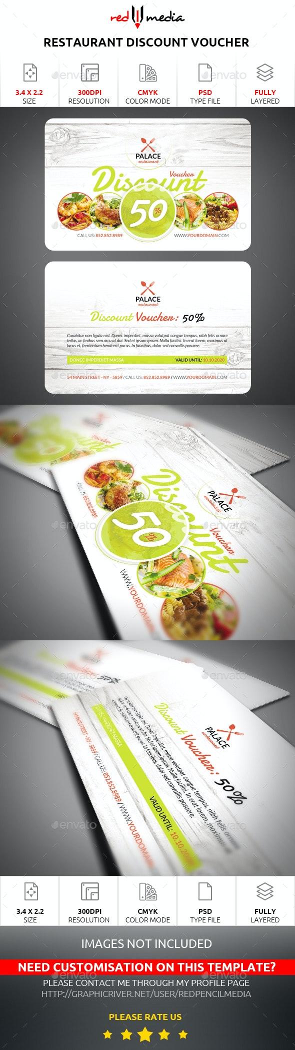 Restaurant Discount Voucher - Cards & Invites Print Templates