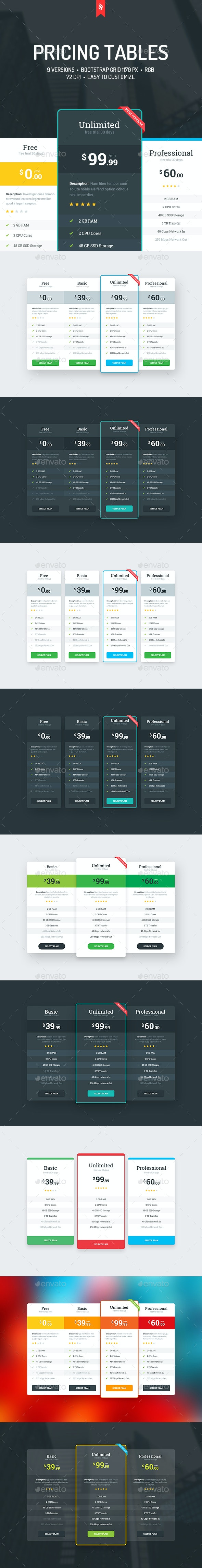 9 Pricing Tables - Tables Web Elements