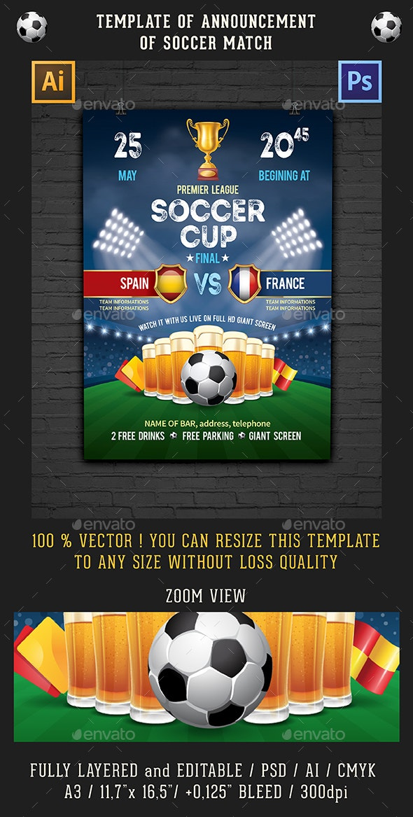 Template Of Announcement Of Soccer Match - Sports Events