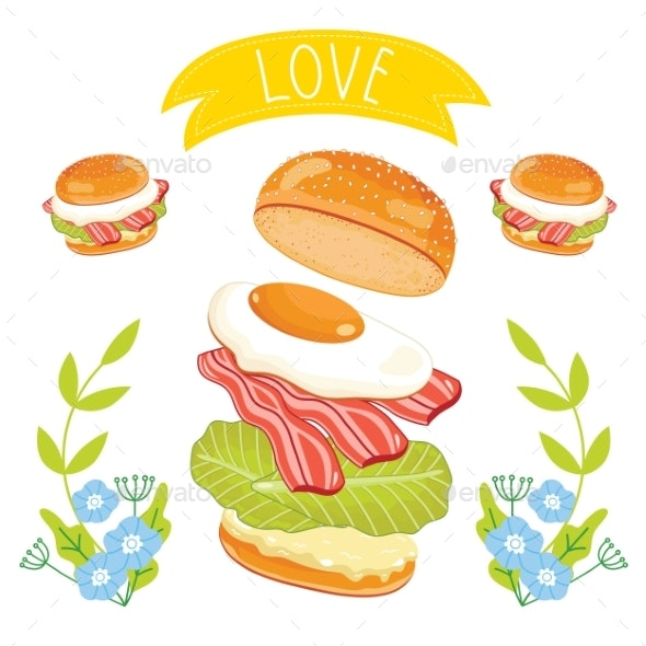 Hamburger Ingredients On White Background - Food Objects