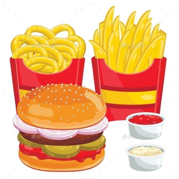 Fast Food Menu Set, Vector Illustration
