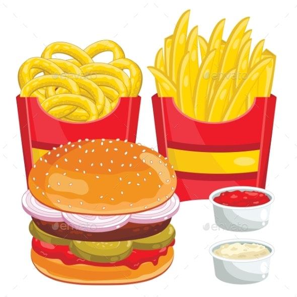 Fast Food Menu Set, Vector Illustration - Food Objects