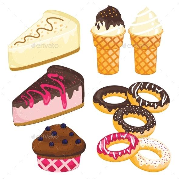 Sweet Dessert Set. Cake, Ice Cream, Donut, Cupcake - Birthdays Seasons/Holidays