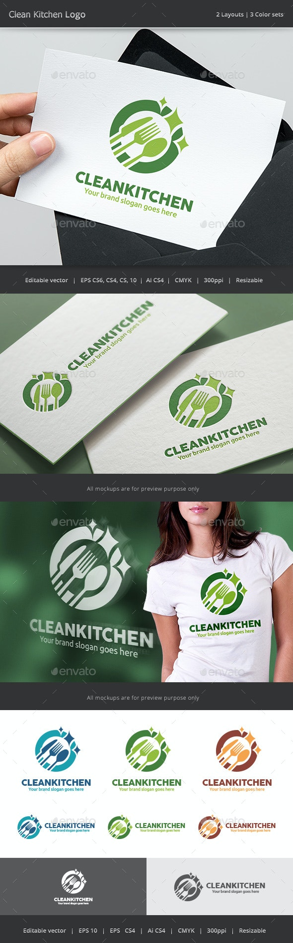 Clean Kitchen Logo - Vector Abstract