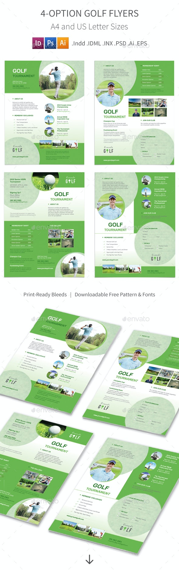 Golf Tournament Flyers 3 – 4 Options - Corporate Flyers