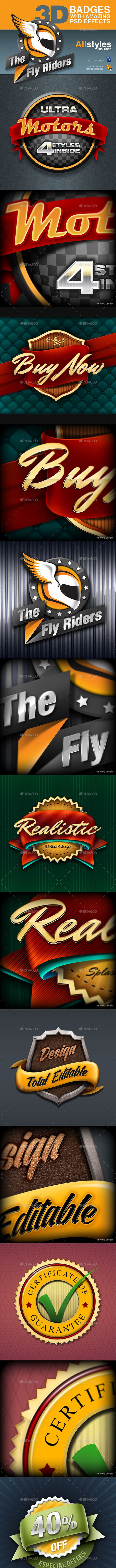 Badges with PSD realistic 3D Effects - Badges & Stickers Web Elements