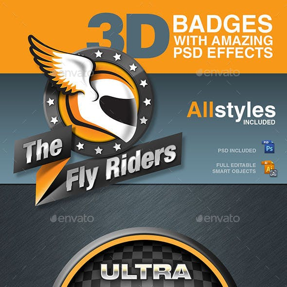 Badges with PSD realistic 3D Effects