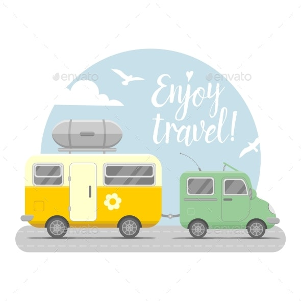 Caravan Trailer End Car Illustration - Travel Conceptual