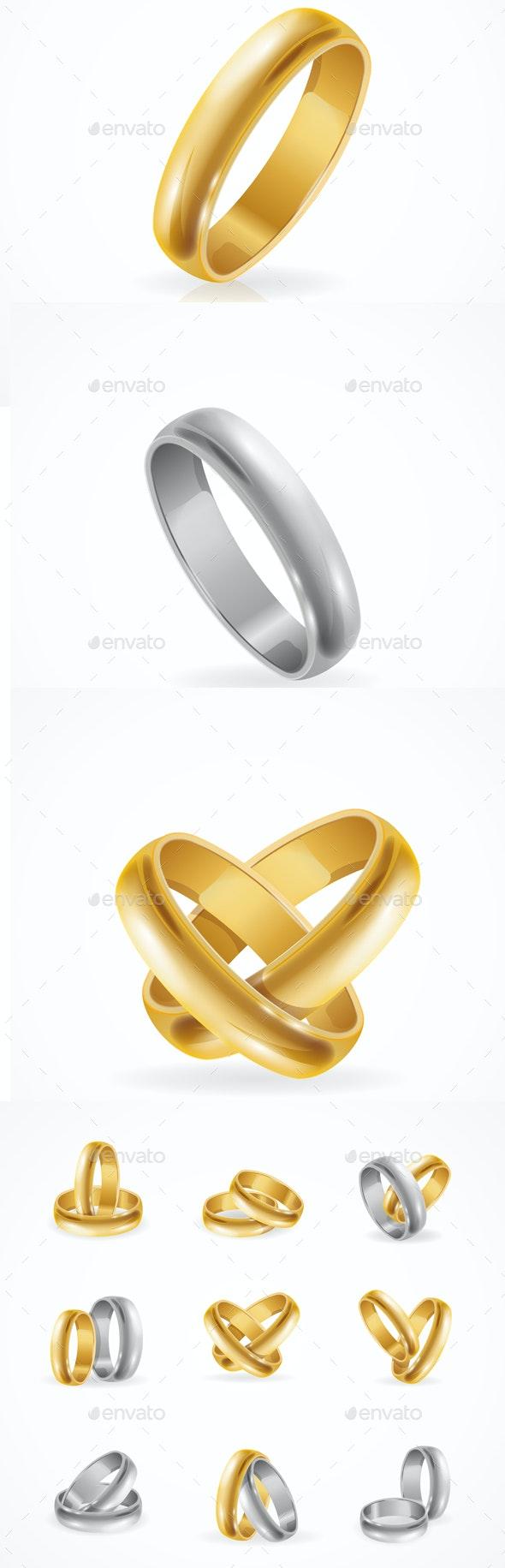 Rings Set Made of Silver and Gold. Vector - Weddings Seasons/Holidays