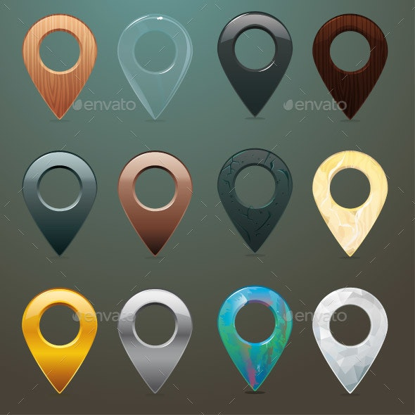 Location Pins in Different Materials and Textures - Miscellaneous Characters