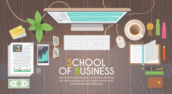 Workplace. Vector Illustration - Concepts Business