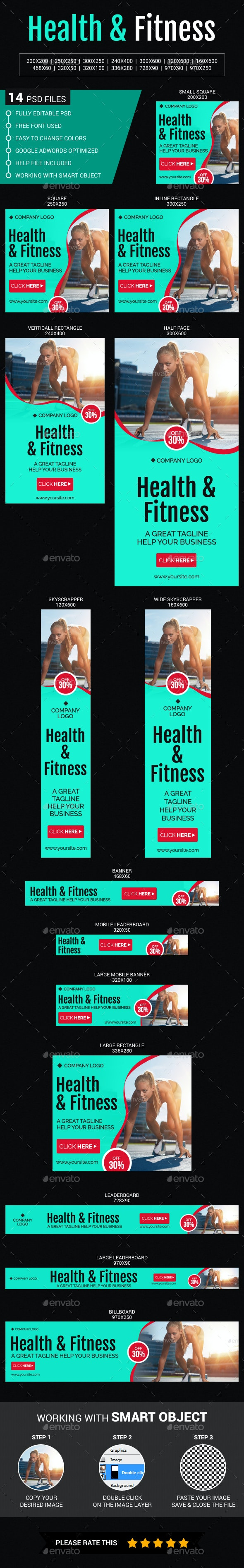 Health & Fitness - Banners & Ads Web Elements