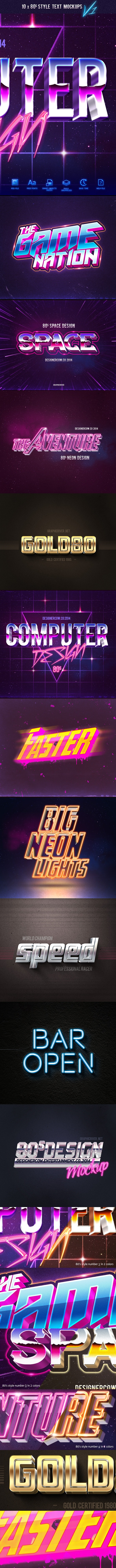 80's Style Text Mockups V1 - Text Effects Actions