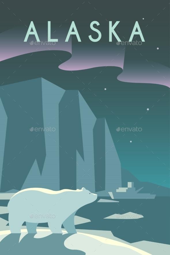 Art Deco Poster. Alaska. - Landscapes Nature