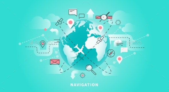 Web Banner Of Map Navigation - Travel Conceptual