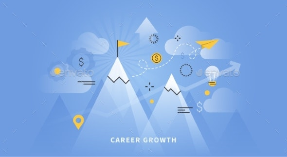 Web Banner Of Career Growth - Concepts Business