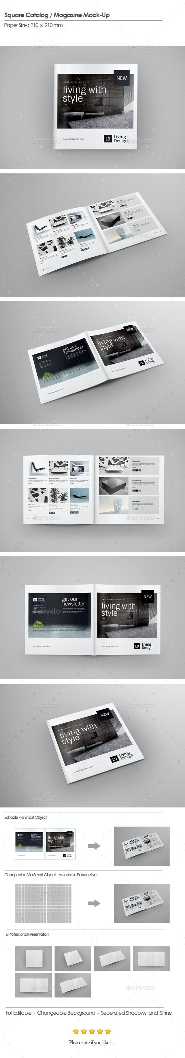 Square Catalog / Magazine Mock-Up - Brochures Print