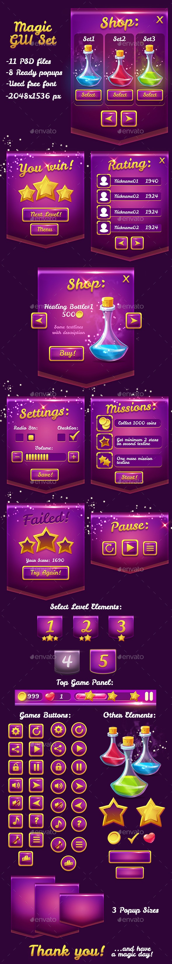 Magical Violet Glossy Game UI Pack - User Interfaces Game Assets