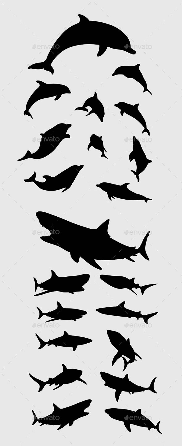 Dolphin and Shark Silhouettes - Animals Characters