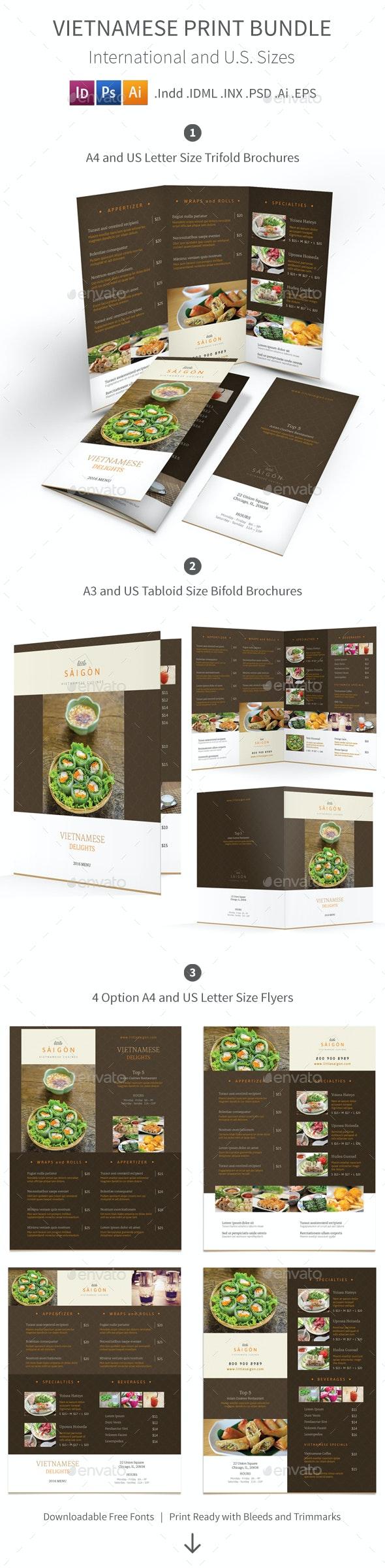 Vietnamese Restaurant Menu Print Bundle 2 - Food Menus Print Templates
