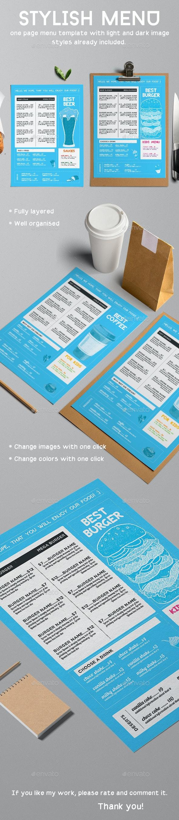 Stylish and Modern Menu Template - Food Menus Print Templates