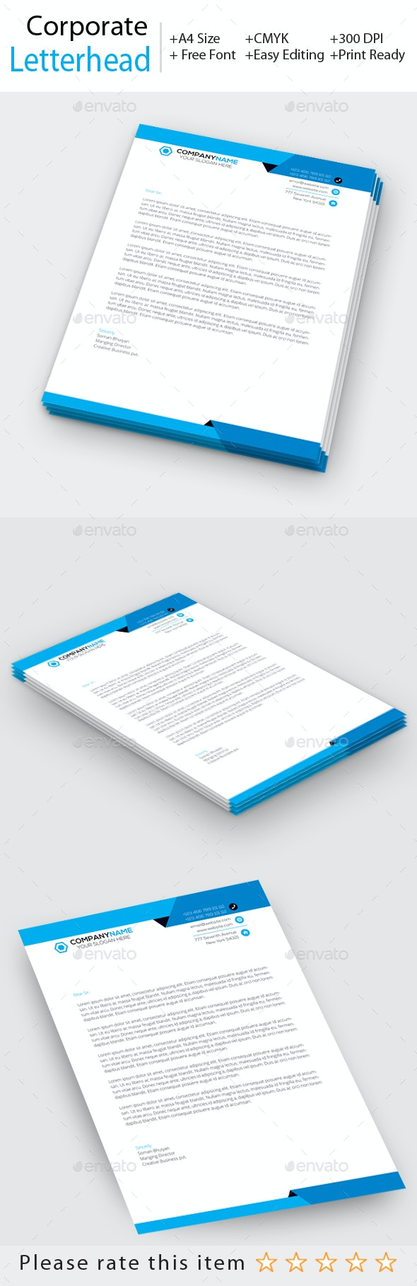 Corporate Letterhead - Stationery Print Templates