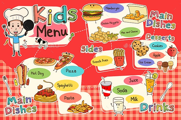 Kids Meal Menu - Food Objects