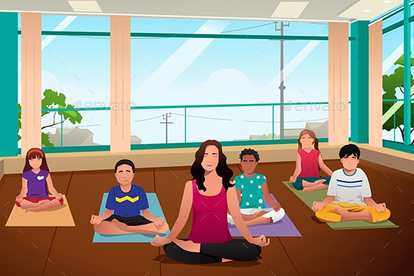 Kids in Yoga Class - Sports/Activity Conceptual