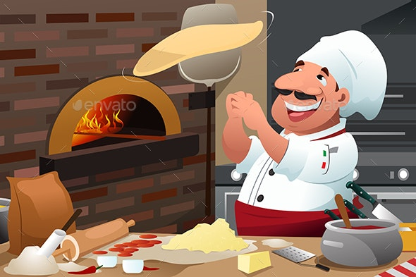 Pizza Chef Makes Pizza Dough - People Characters