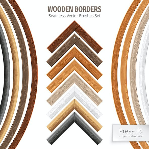 Wooden Borders Vector Brushes