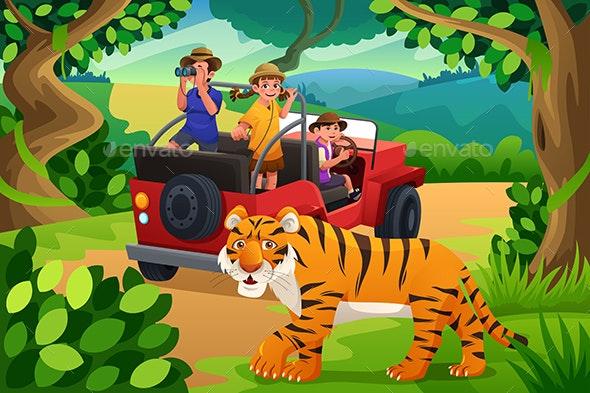 Kids Going to Jungle Safari - People Characters