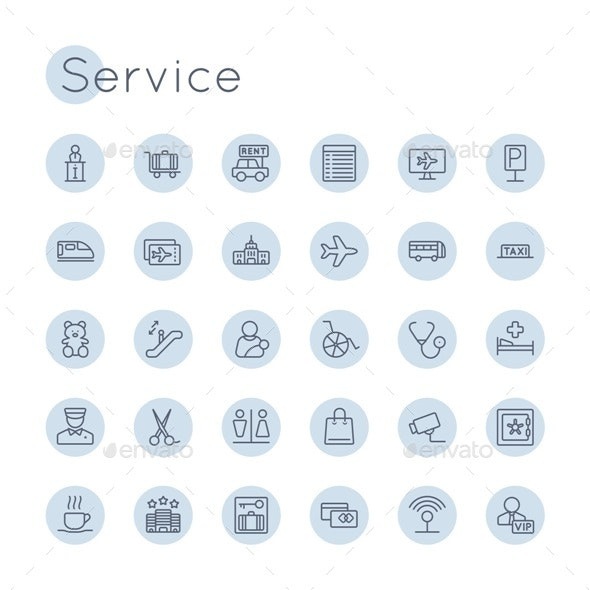 Vector Round Service Icons - Business Icons