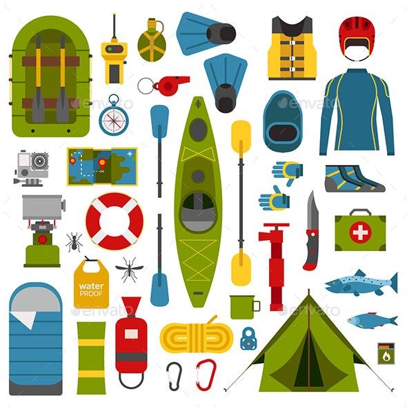 River Camping Set - Travel Conceptual