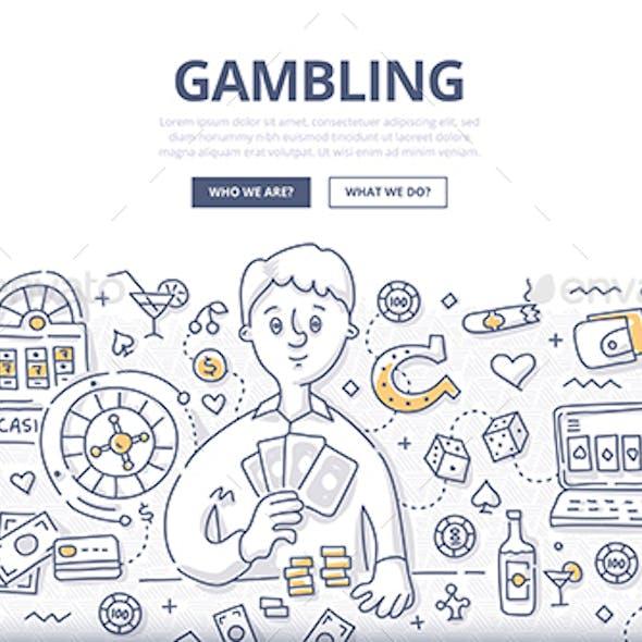 Gambling Doodle Concept