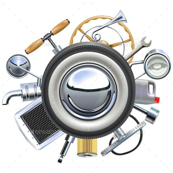 Retro Car Parts Concept - Industries Business
