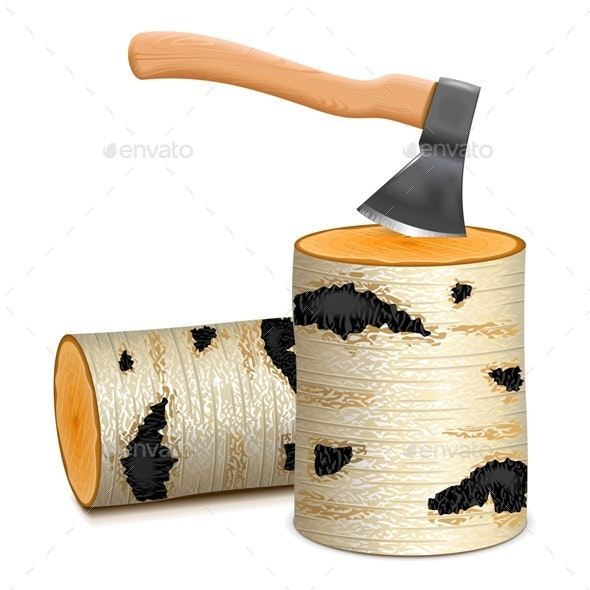 Ax with Birch Firewood - Travel Conceptual