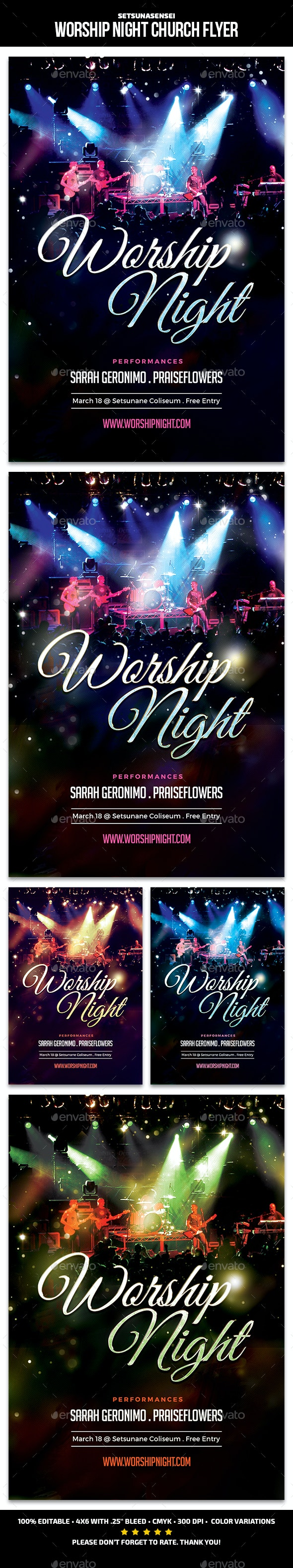 Worship Night Church Flyer - Church Flyers