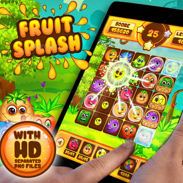 Fruit Splash: Fruit Heroes Puzzle Game UI Kit