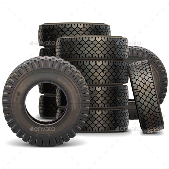 Old Truck Tire Set 2 - Industries Business