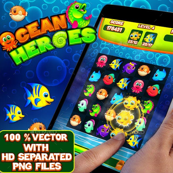Ocean Heroes Puzzle Game UI Kit