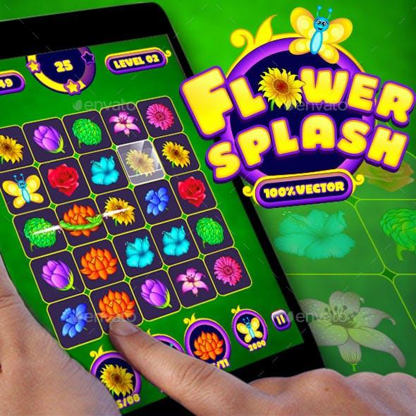 Flower Splash: Match-3 Puzzle Game UI Pack