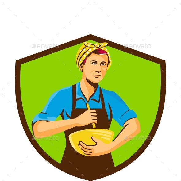Female Chef Bandana Mixing Bowl Crest Retro