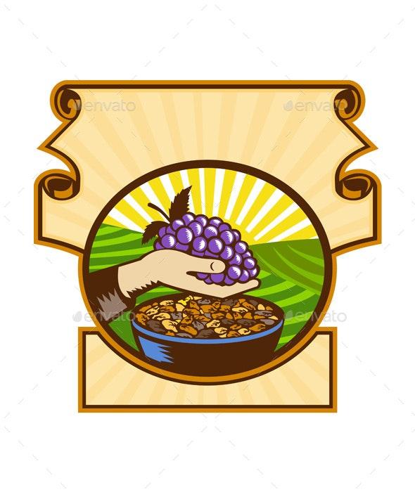 Hand Holding Grapes Raisins Crest Woodcut - Food Objects