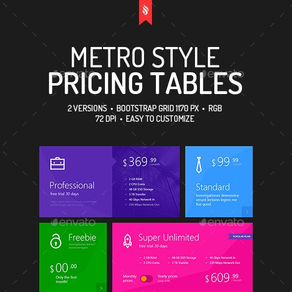 Metro Pricing Tables