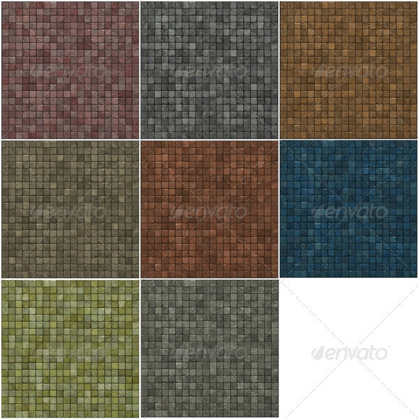 Large 3d Render of a Smooth Beige Stone Mosaic  - 3D Backgrounds
