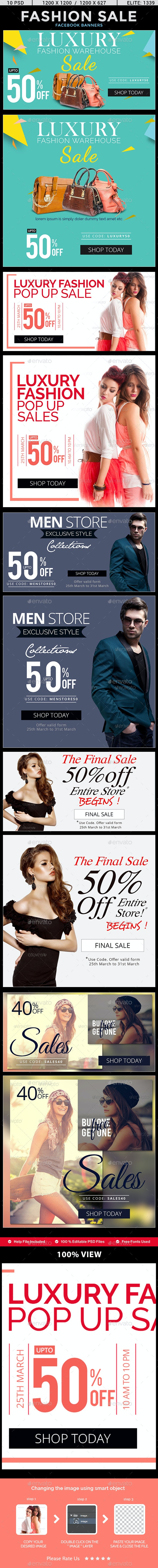 Fashion Sale Facebook News Feed Banners - 5 Designs - 2 Sizes Each - Social Media Web Elements