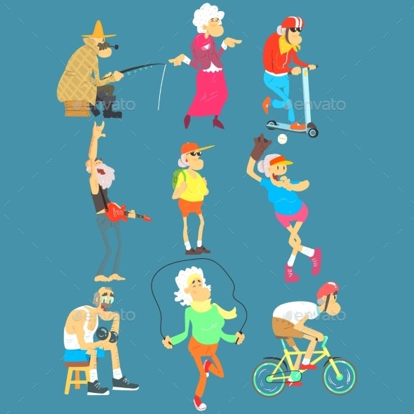 Old People Activities, Vector Illustration Set - People Characters