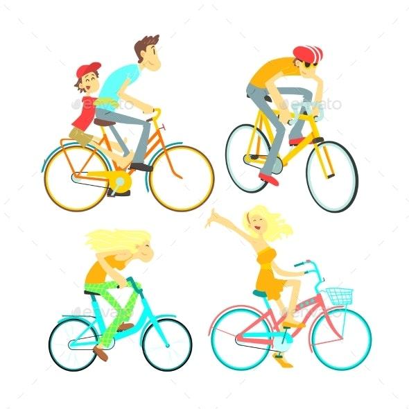People On Bikes Set - People Characters